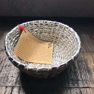 Recycled plastic silver bowl Handmade